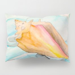Conch Shell Watercolor Pillow Sham