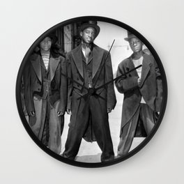 African American Teenagers with Tuxedos & Top-Hats During The August, 1943 Riots In Harlem portrait Wall Clock