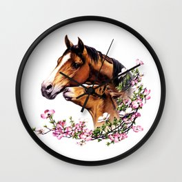 Mare and Foal Wall Clock