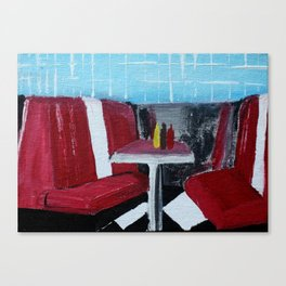 American Diner Impressionist Acrylic Fine Art Canvas Print