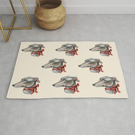 Greyhound, lurcher, whippet dog with red bowtie Rug