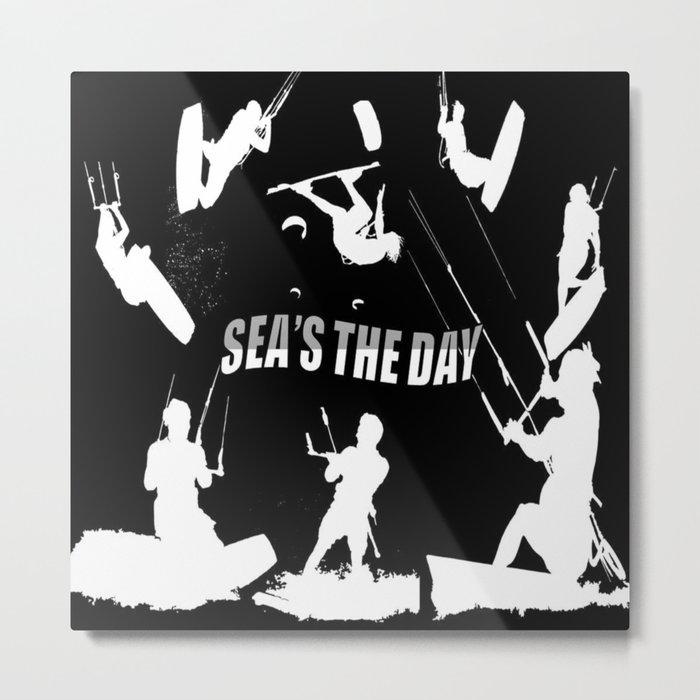 Seas The Day Kitesurfing Metal Print