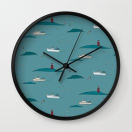 Lobstering in the Harbor Wall Clock