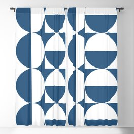 Mid century white and blue Blackout Curtain