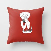eat Throw Pillows featuring EAT by Creating is Breathing