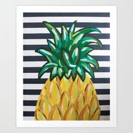 Pineapple on Black and White Stripes Art Print