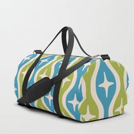 Mid century Modern Bulbous Star Pattern Chartreuse and Cerulean Duffle Bag