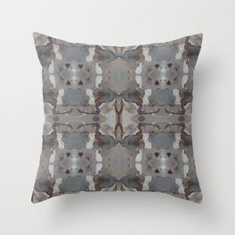 Gray Linen Taupe With Gold And Brown Throw Pillow