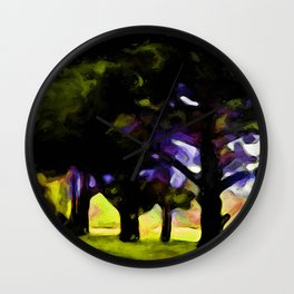 Landscape with Green Trees in a row Wall Clock