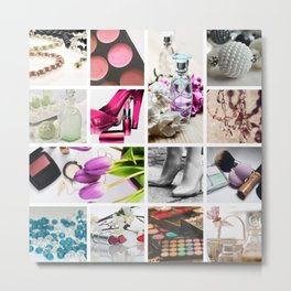 Glamorous Fashion & Cosmetics Collage Metal Print