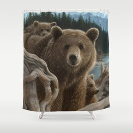 Brown Bear With Cubs - Backpacking Shower Curtain