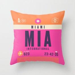 Retro Airline Luggage Tag - MIA Miami Throw Pillow