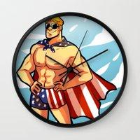 steve rogers Wall Clocks featuring Steve by zombietonbo