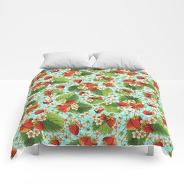 Botanical Strawberries Comforters