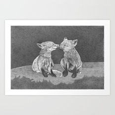 Kissing Cubs Art Print