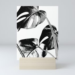 Black monstera leaves watercolor Mini Art Print