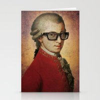 mozart Stationery Cards featuring Funny Hipster Mozart by Paul Stickland for StrangeStore