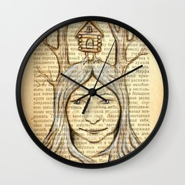 Baba Yaga on an old book page Wall Clock