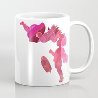 ponyo Mugs featuring Ponyo and Sosuke in Pink by foreverwars