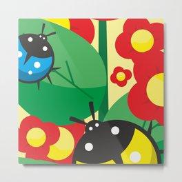 Ladybug, flowers and leaves #society6 #decor #buyart #artprint Metal Print
