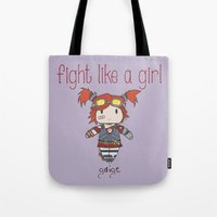 borderlands Tote Bags featuring Fight Like a Girl - Borderlands 2 ~ Gaige by ~ isa ~