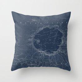 Crater Lake Blueprint Map Design Throw Pillow