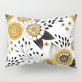 Doodle flowers in yellow and black 2 Pillow Sham