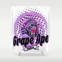 ape Shower Curtains featuring Grape Ape by Cannalusions Clothing Co.
