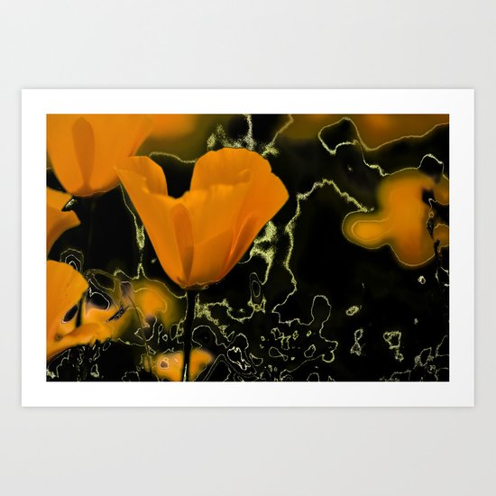 Orange poppy with abstract Art Print