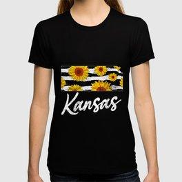 Kansas Sunflower Leopard State Map T-shirt
