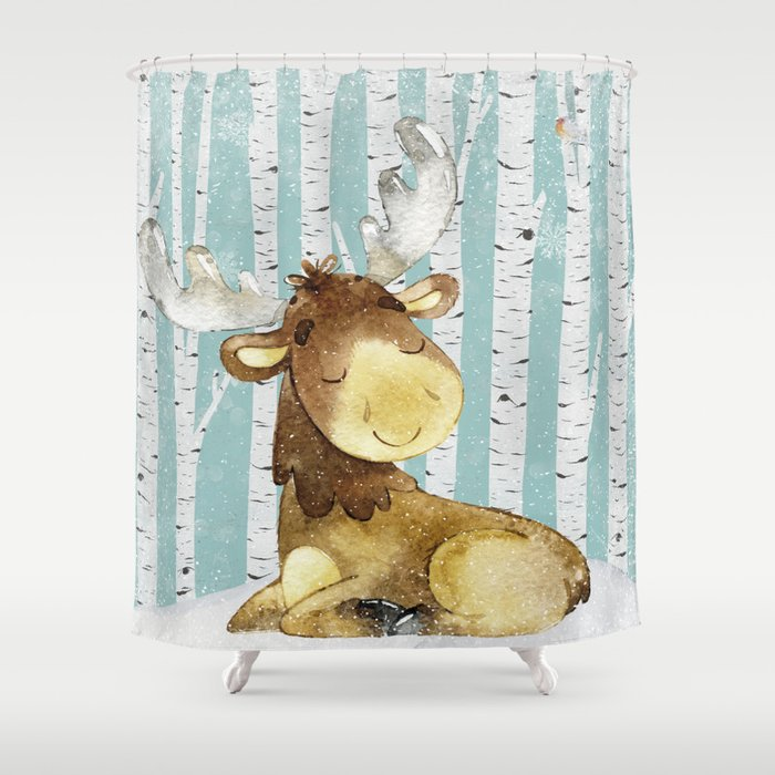 Winter Woodland Friends Deer Moose Snowy Forest Illustration ...