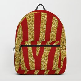 gold glitter on red pattern Backpack