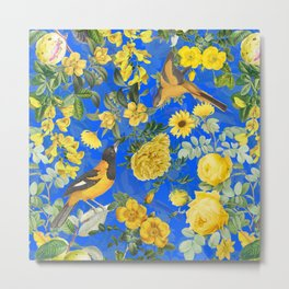 Vintage & Shabby Chic - Night Blue Botanical Bird and Flower Garden Metal Print