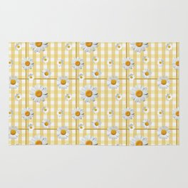 Spring Bloom | Yellow Plaid with Glitter Thread Rug