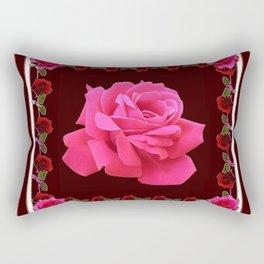 FUCHSIA PINK ROSE & BURGUNDY FLORAL PATTERNED ART Rectangular Pillow
