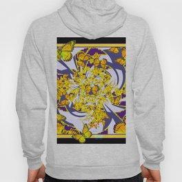Modern Art Yellow Butterflies Purple Patterns Hoody