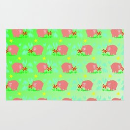 Pigs in clover Rug