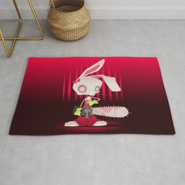 Horror bunny with chainsaw. Rug