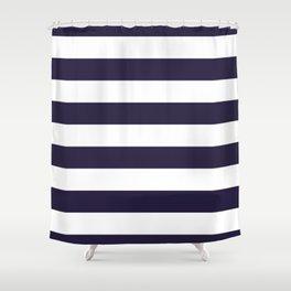 Dark eclipse Blue and White Wide Horizontal Cabana Tent Stripe Shower Curtain