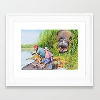 hippo Framed Art Prints featuring hippo! by Rose Rigden