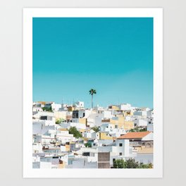 Urban Poster, Spain, Printable Photography, Architecture, Building, Palm Tree, Wall Art, Blue, White Art Print