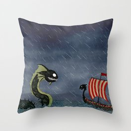 Sea Serpent & Viking Longboat Throw Pillow