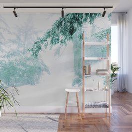 Emerald forest in blizzard and snow Wall Mural