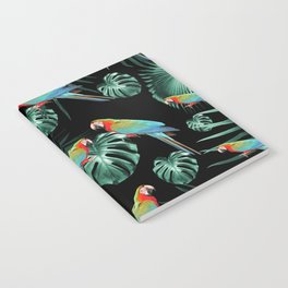 Parrots in the Tropical Jungle Night #2 #tropical #decor #art #society6 Notebook