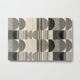Abstraction_SHAPE_BLACK_WHITE_POP_ART_Minimalism_001BW Metal Print