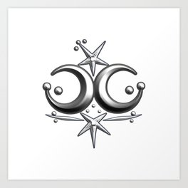 Iceni Silver Moons and Stars. Art Print