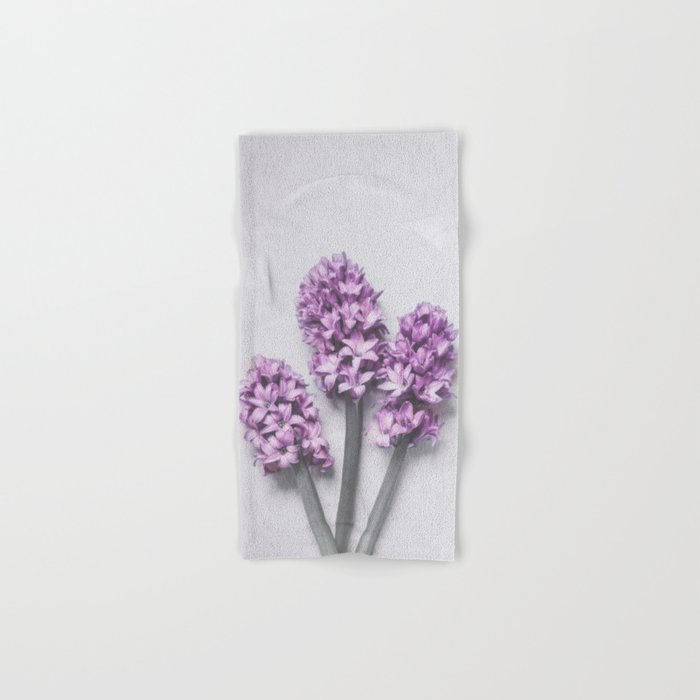 Three Light Purple Hyacinths Hand & Bath Towel