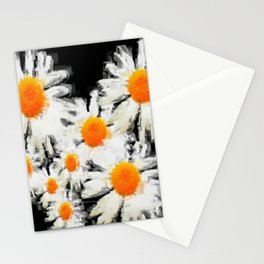 high contrast daisies pastel drawing Stationery Cards