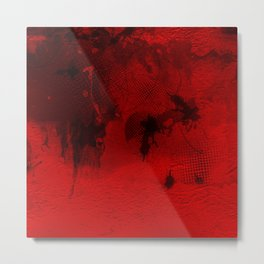 Modern Contemporary Red and Black Abstract Art Metal Print