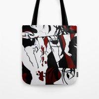 manga Tote Bags featuring Grafitti Manga by Fine2art
